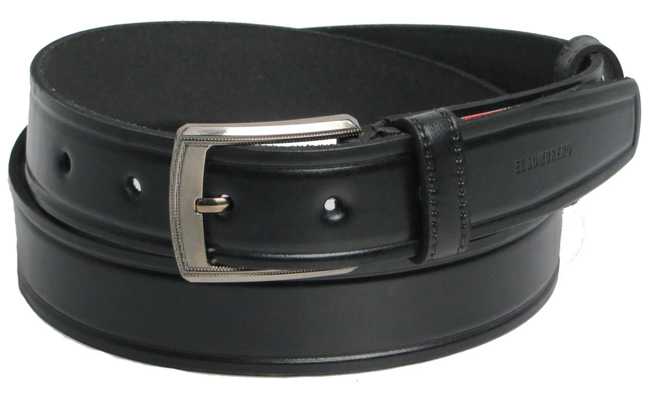 Брючный мужской кожаный ремень Skipper 5510-3 чёрный ДхШ: 123х3,5 см.