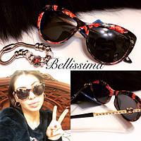 Женские красивые солнцезащитные очки с цветочной оправой v-431691