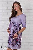 Очень женственное платье для беременных Daniella из штапеля, цветы на сиреневом фоне 2