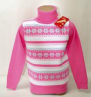 Свитер-гольф Many&Many розовый с белыми полосами Снежинки+Сердечки