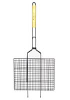 Решетка для гриля антипригарная 45*25.5*2 см  с деревянной ручкой СКАУТ 0714