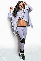 Необычный женский спортивный костюм двойка с леггинсами и кофтой с бахромой на запах двух нить дайвинг