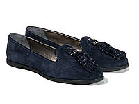 Женские туфли в синем замше