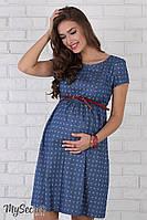 """Легкое платье для беременных и кормящих Celena, джинсово-синее с принтом """"якорьки"""" 2"""