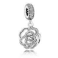 """Pandora шарм """"Ажурная сверкающая роза"""" серебро 925 пробы"""