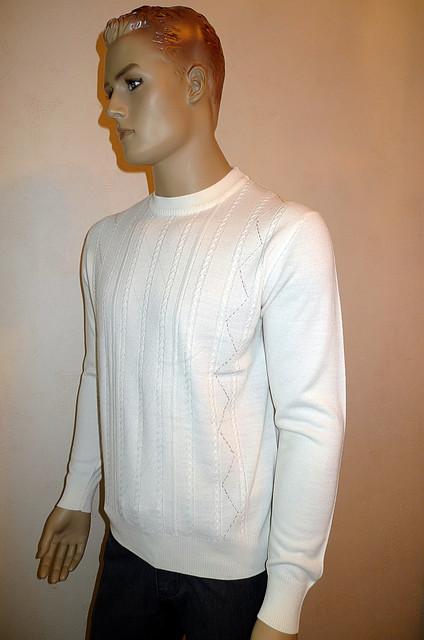 Джемпер с кожаными вставками