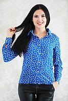 Красивая и стильная рубашка из штапеля модной расцветки с якорьками