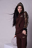 Женский спортивный костюм D&G  леопардовыми рукавами и капюшоном