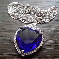 """Кулон """"Сердце океана"""" с покрытием белого золота и кристаллами Сваровски"""