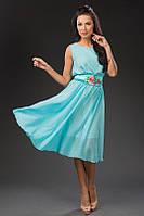 Шикарное шифоновое платье с атласным поясом