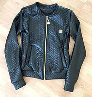 """Женская стильная """"кожаная"""" куртка с карманами (2 цвета)"""