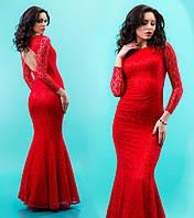Элегантное женское гипюровое платье в пол модель рыбка с фатином