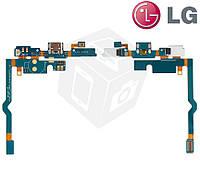 Шлейф для LG Optimus L9 P760/P765/P768, коннектора зарядки, микрофона, с компонентами (оригинальный)