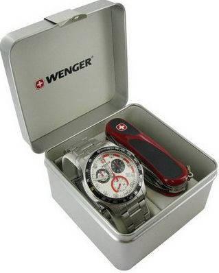 Элегантный мужской набор часы и нож Wenger 70797 серебристый
