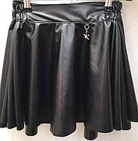 Юбка для девочки из эко-кожи черный