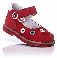Ортопедические туфли для девочки кожаные размеры  21,22,24 красные на липучке Ttutubi