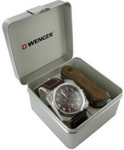 Прекрасный подарочный набор часы и нож Wenger 77014 коричневый