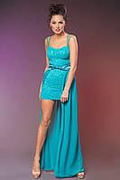 """Нарядное коктейльное мини-платье """"Жанетт"""" с шифоновым шлейфом (3 цвета)"""