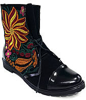 Стильные Замшевые Черные Ботинки на Шнуровке с Яркой Вышивкой