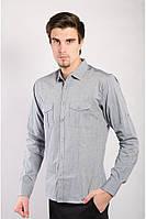 Однотонная рубашка с накладными карманами Серый