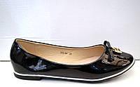 Балетки женские лаковые с бантиком черные KF0037