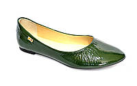 Женские зеленые классические балетки, натуральная лаковая кожа