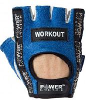 Перчатки Power System атлетические WorkOUT синие,полуоткрытые