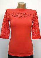 Блуза трикотажная с ажурными вставками коралловая