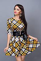 Молодежное платье с поясом из кожзама