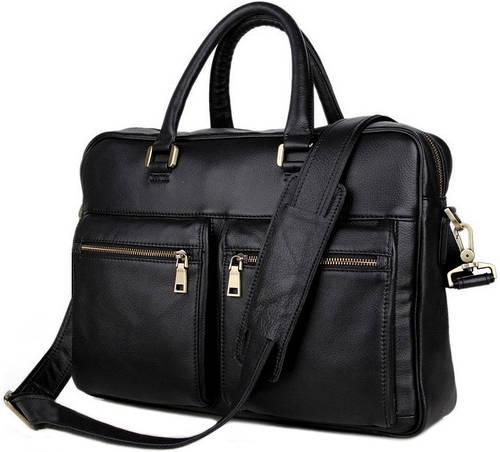 Красивая кожаная мужская сумка  TIDING BAG 7270A черный