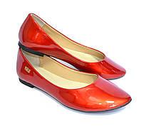 Женские красные классические балетки, натуральная лаковая кожа
