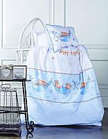 Нежно-голубое детское постельное бельё в подарочной упаковке MEL
