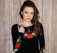 Женская вышиванка Роскошная цвет черный до 56 размера