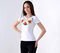 Женская вышиванка Цветочное ожерелье цвет белый до 56 размера
