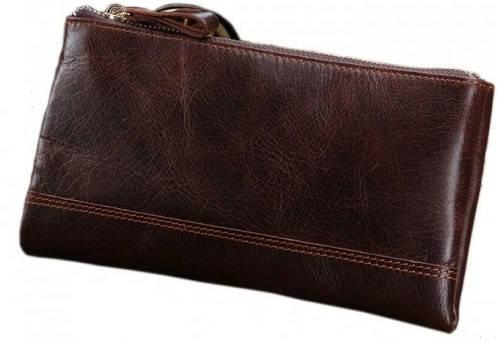 Современный кожаный мужской клатч S.J.D. 8027C коричневый