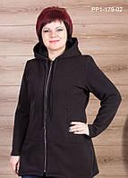 Женская теплая толстовка цвет черный размер 56-64