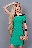 Красивое летнее платье бирюзового цвета по горловине и рукавах кожаная отделка