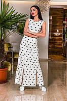 Женское легкое повседневное платье в пол с 4-мю разрезами
