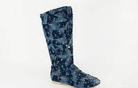 Сапоги женские джинсовые камни Д462