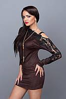 Шикарное платье-туника из трикотажно замша с кружевной вставкой на плечах