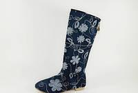 Сапоги женские джинсовые цветы Д463