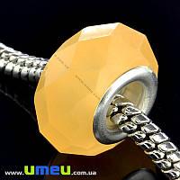 Бусина PANDORA пластиковая граненая, 14х9 мм, Оранжевая, 1 шт (BUS-015174)