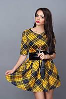 Нарядное молодежное платье с поясом из кожзама