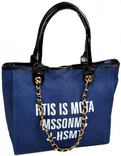 Качественная джинсовая женская классическая сумка 02-3 8609 blue