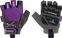 Перчатки для фитнеса Power System неформальные,фиолетовые в цветочок