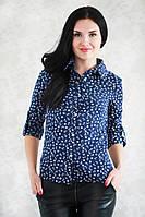 Молодежная летняя рубашка синего цвета с модным принтом якорьками