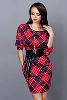 Платье футляр в клетку красное с кожаным поясом