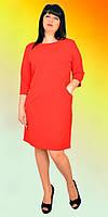 Очаровательное платье в красном цвете большого размера полуприталеного кроя