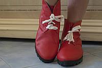 Женские стильные кожаные красные ботинки на шнуровке. Арт-0431
