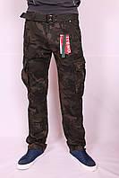 Мужские джинсы-карго камуфляжные